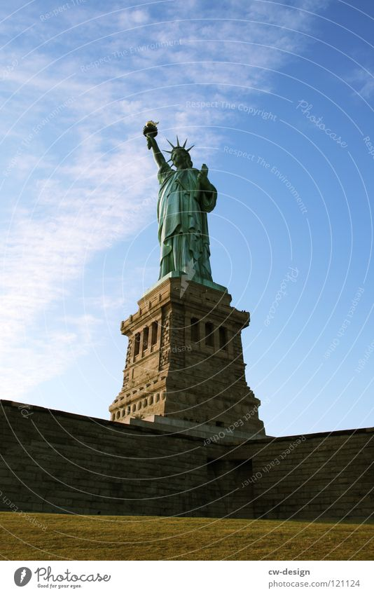 Freedom Monument Tourist Attraction New York City Statue of Liberty Pedestal Destination Bright background