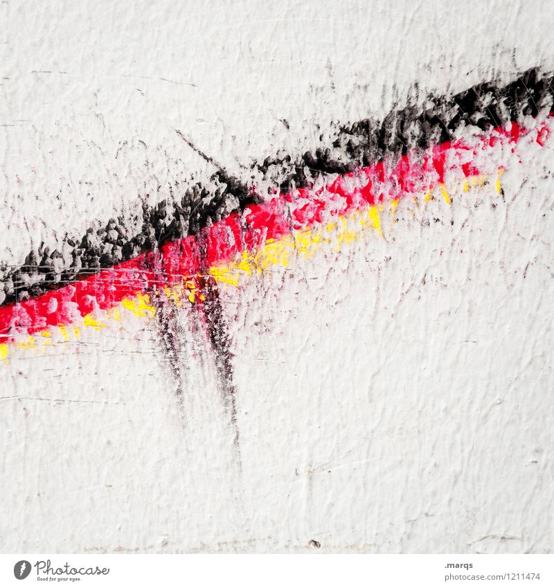 upswing Wall (barrier) Wall (building) Flag Germany German Flag Sign Line Stripe Exceptional Yellow Red Black White Colour Politics and state Change