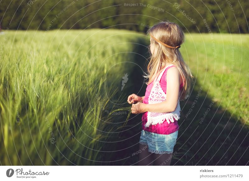 Human being Child Nature Summer Sun Relaxation Girl Environment Natural Dream Field Idyll Infancy Happiness Joie de vivre (Vitality) Cute