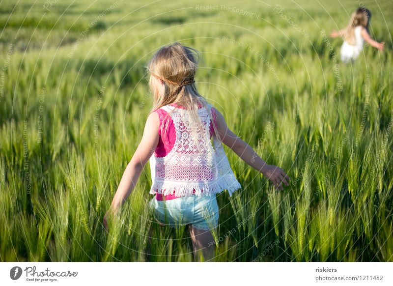 Human being Child Nature Plant Summer Sun Relaxation Girl Environment Natural Feminine Playing Happy Going Field Fresh