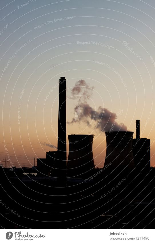 Dark Brown Energy industry Dirty Gold Climate Electricity Beautiful weather Change Industrial Photography Cloudless sky Workplace Chimney