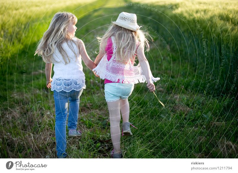 Human being Child Nature Summer Relaxation Landscape Girl Environment Love Natural Feminine To talk Playing Happy Family & Relations Together