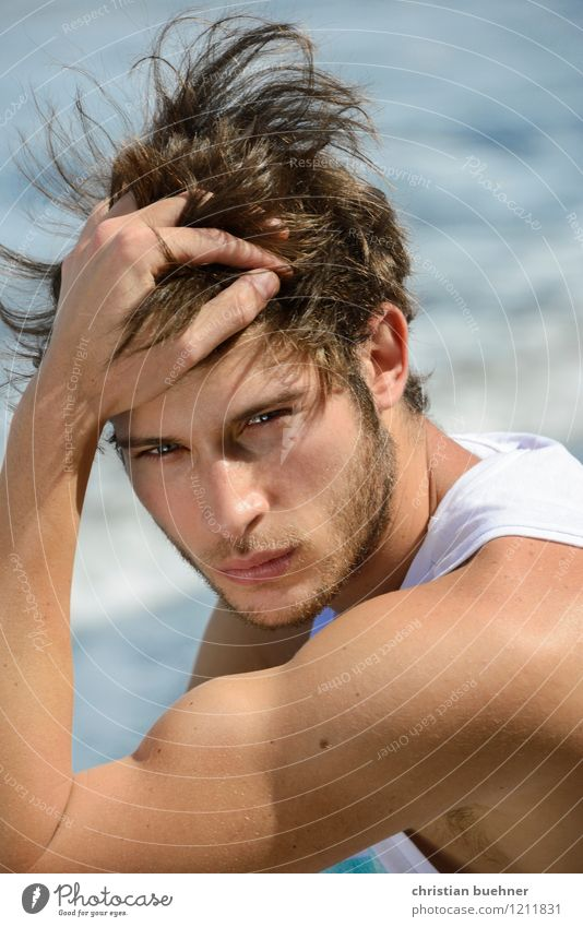 a beach portrait Hair and hairstyles Summer Summer vacation Sun Sunbathing Beach Ocean Young man Youth (Young adults) 1 Human being 18 - 30 years Adults