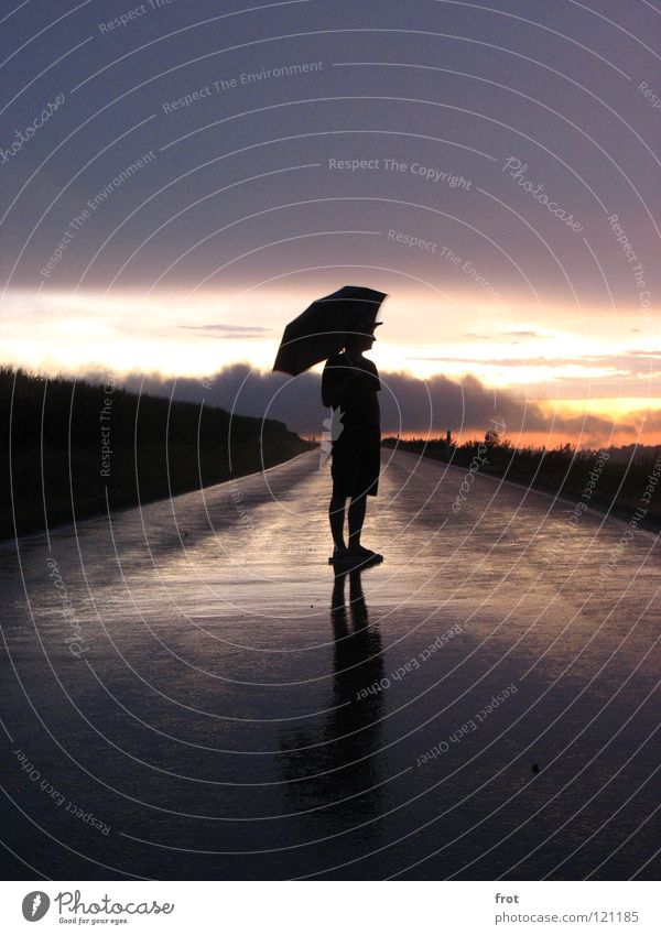 Human being Sky Loneliness Far-off places Street Rain Contentment Wet Hope Longing Umbrella Dusk Country road
