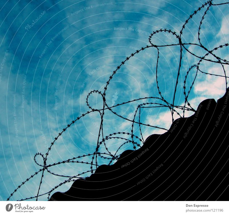 Sky Blue Clouds Freedom Wall (barrier) Safety Force Fence Americas Captured Penitentiary Justice Criminality Terror Jail sentence