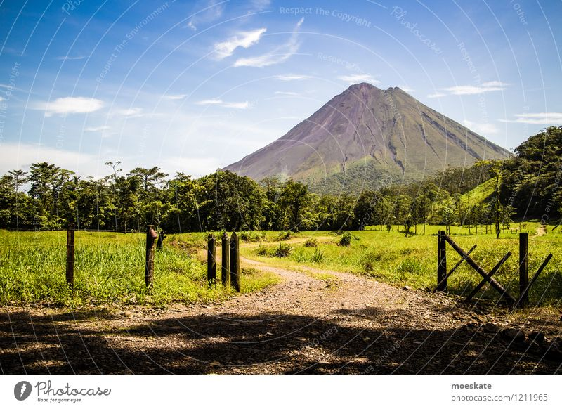 Volcano Arenal Costa Rica Nature Landscape Elements Earth Sky Clouds Summer Beautiful weather Field Forest Virgin forest arena Old Blue Green Colour photo