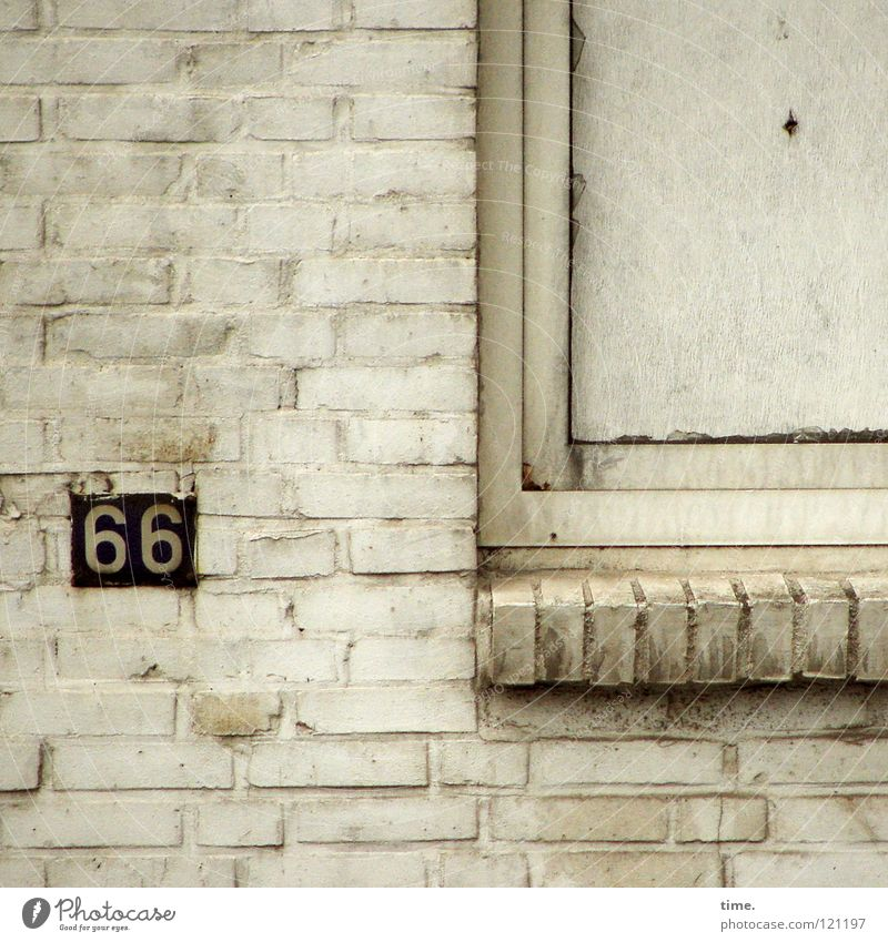 Old Wall (building) Window Wall (barrier) Dirty Closed Digits and numbers Transience Painting (action, work) Derelict Brick Hollow Cardboard Connect Frame Seam