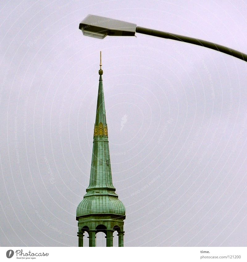 Well, Michel, everything vertical? Spiked helmet Carrier Column Spire Church spire Christianity Spirituality Copper roof Fate Irony Lamp Street lighting Lantern