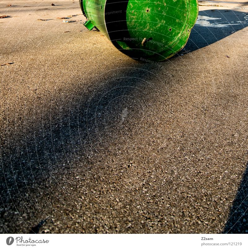 obstacle Keg Trash container Green Puddle Stand Concrete Tar Square Things Funsport Lighting Shadow Lie Simple grain Contrast