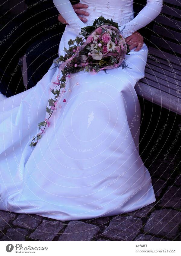 Beautiful White Flower Love Couple Wedding Sit Bench Trust Bouquet Bride Wedding couple Wedding dress