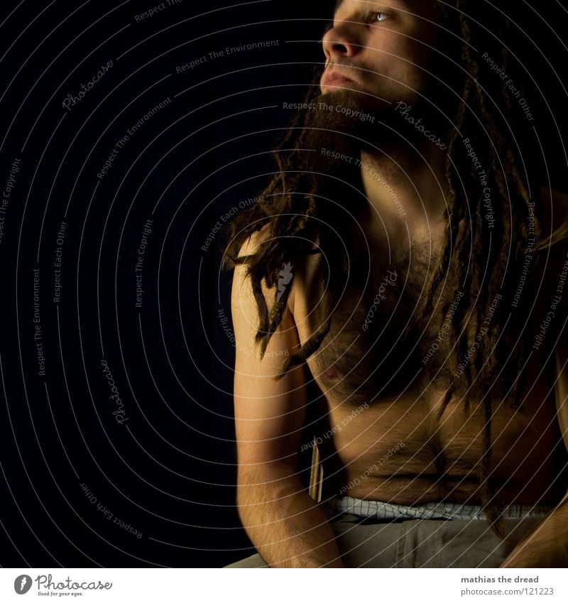 --> WATCHING<-- Dreadlocks Felt Long Dark Upper body Man Masculine Concealed Facial hair Beard hair Unshaven Visual spectacle Shadow play Pants Chin Abrupt