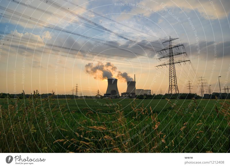 nuclear power station Energy industry Renewable energy Solar Power Nuclear Power Plant Blue Dusk nuclear phaseout energy policy Sky Sunset Radiation Electricity
