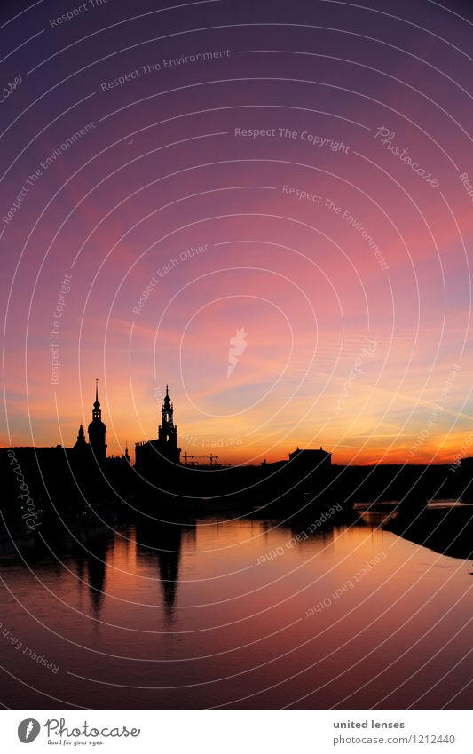 CG# Dresden Skyline II Art Esthetic Contentment Silhouette Heaven Old town Historic Historic Buildings Reflection Lure of the big city Town Past Romance