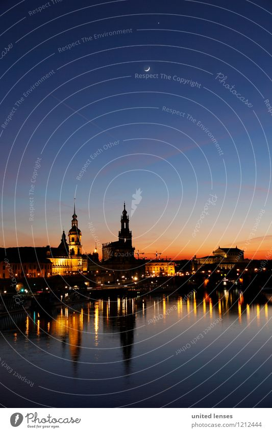 CG # Dresden Skyline I Art Esthetic Contentment Elbe River Romance Lure of the big city Historic Historic Buildings Semper Opera Dresden Hofkirche Lock
