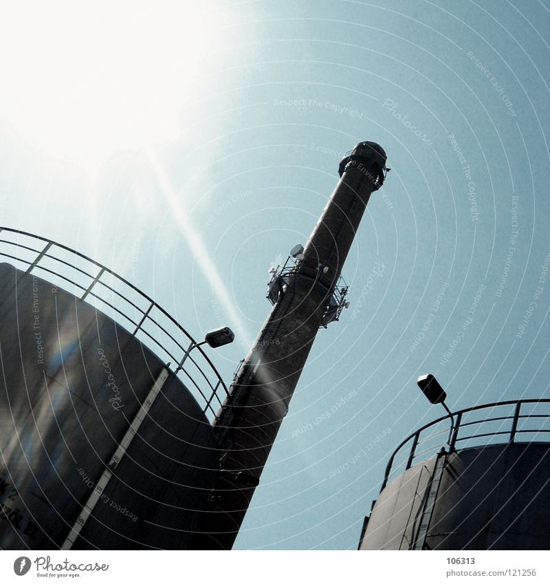 Sky Blue Loneliness Lamp 2 Lighting Success Empty Tower Industry Level Industrial Photography Observe Symbols and metaphors Handrail
