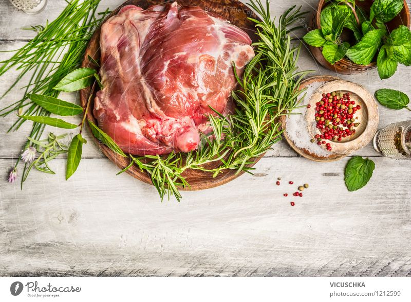 Prepare leg of lamb with fresh herbs Food Meat Herbs and spices Nutrition Lunch Dinner Banquet Organic produce Diet Plate Bowl Style Design Healthy Eating Table