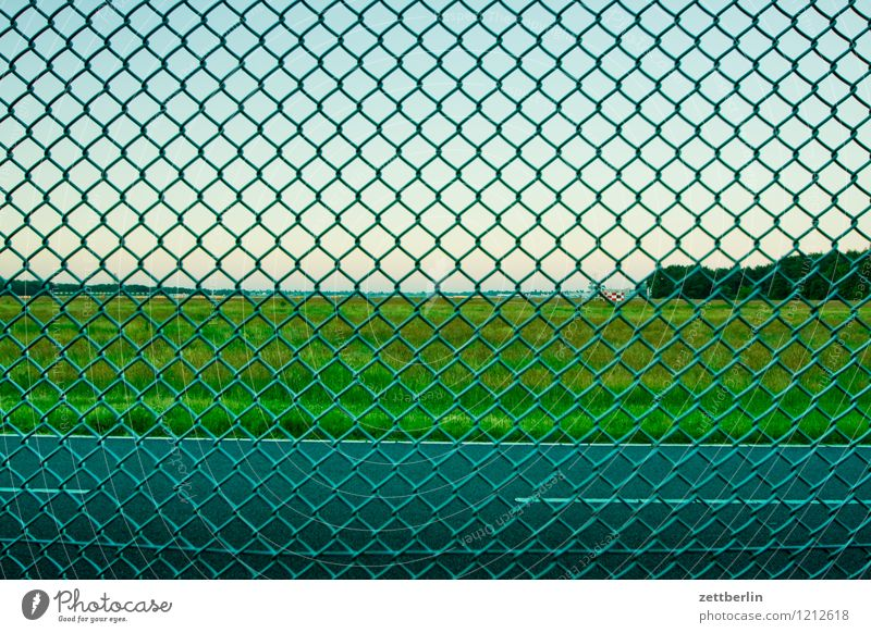 fence Fence Wire netting Wire netting fence Wire fence Metalware Border Street Meadow Sky Airfield Airport Zone Bans Threat Dangerous Risk Neighbor Boundary