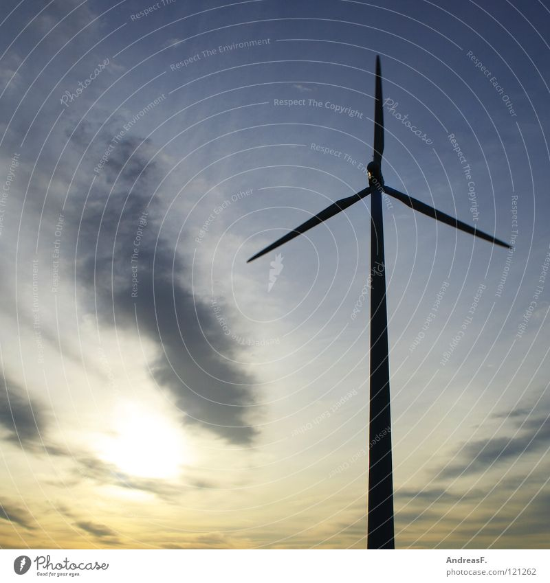 Sky Sun Power Wind Energy industry Electricity Technology Wind energy plant Dusk Environmental protection Blue sky Climate change Rotor Eco-friendly