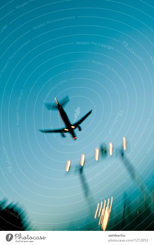 Sky Vacation & Travel Travel photography Berlin Flying Aviation Copy Space Beginning Speed Airplane Haste Airplane takeoff Departure Airplane landing Dynamics Airport