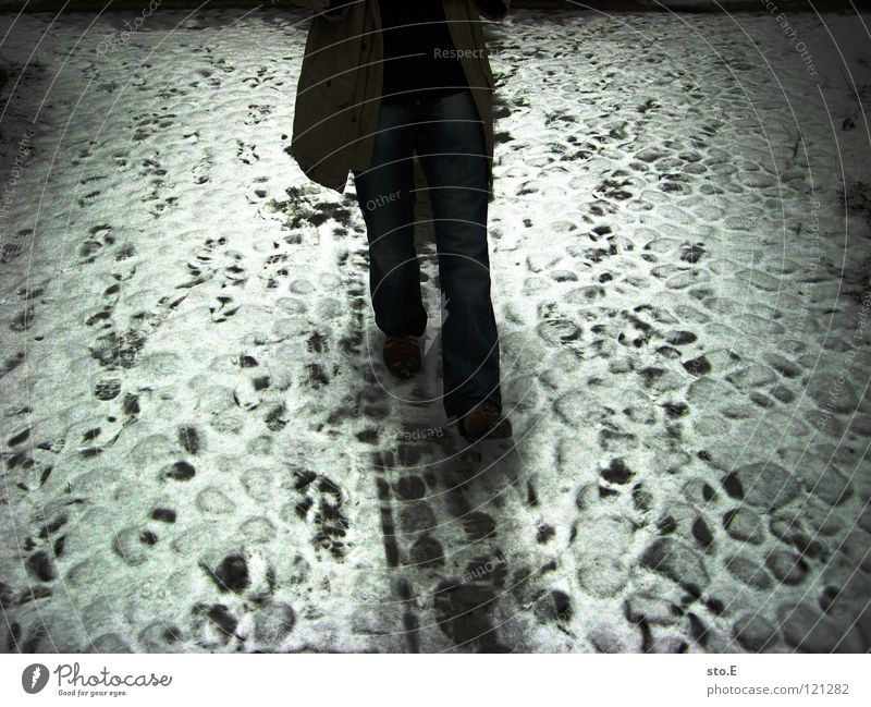 Human being Nature Old White Winter Cold Movement Lanes & trails Sadness Legs Lighting Going Walking Arrangement Stand Gloomy