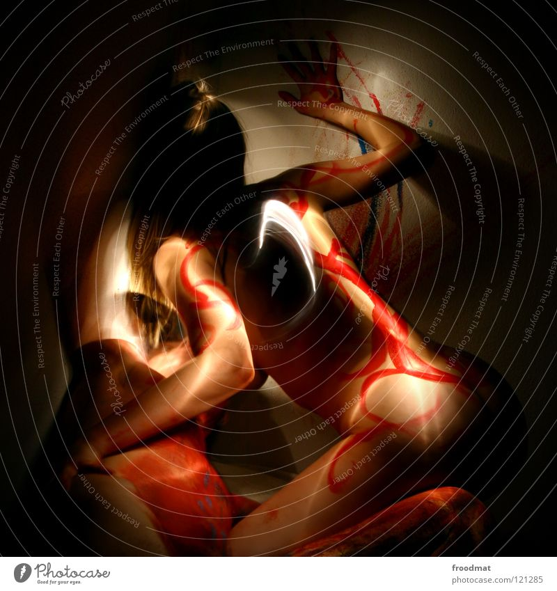 Woman Youth (Young adults) Man Beautiful Colour Eroticism Joy Dark Adults Love Emotions Movement Playing Happy Art Nude photography