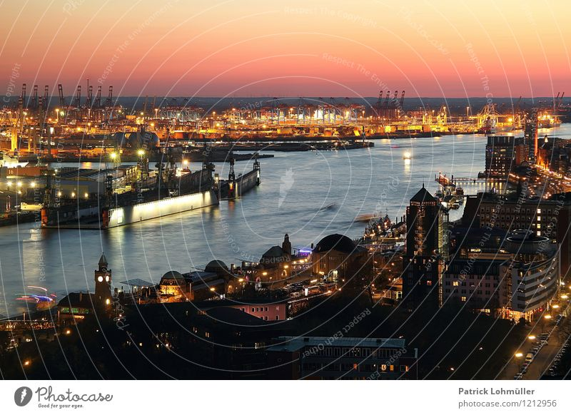 Port of Hamburg Vacation & Travel Tourism Sightseeing City trip Industry Logistics Environment Water Cloudless sky Horizon Beautiful weather Germany