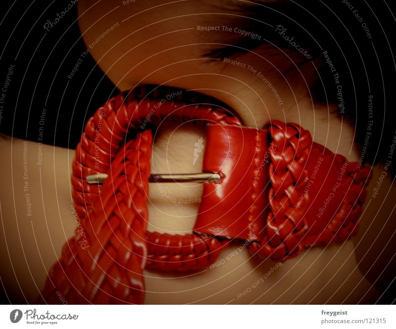 Woman Red Eroticism Skin String Neck Belt Neckband Sexuality