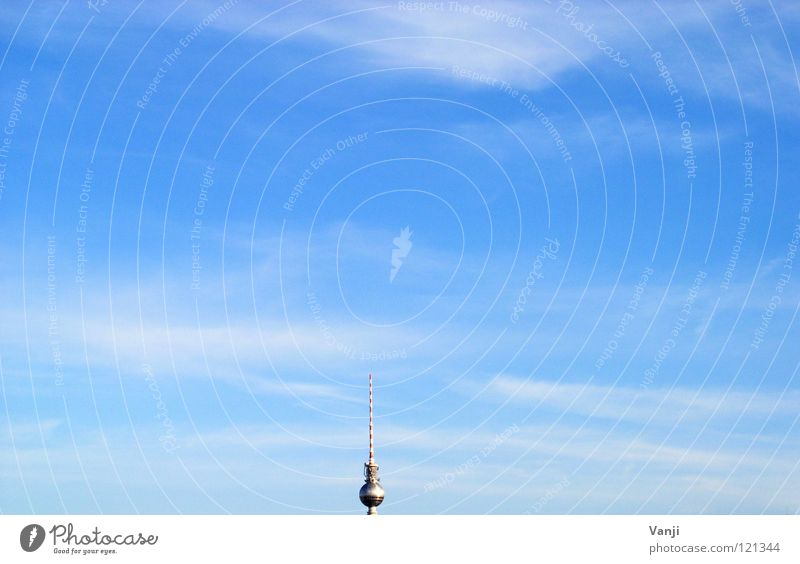 Sky Blue Clouds Berlin Air Tower Search Middle Monument Landmark Berlin TV Tower Syringe Minimal Minimalistic Broacaster