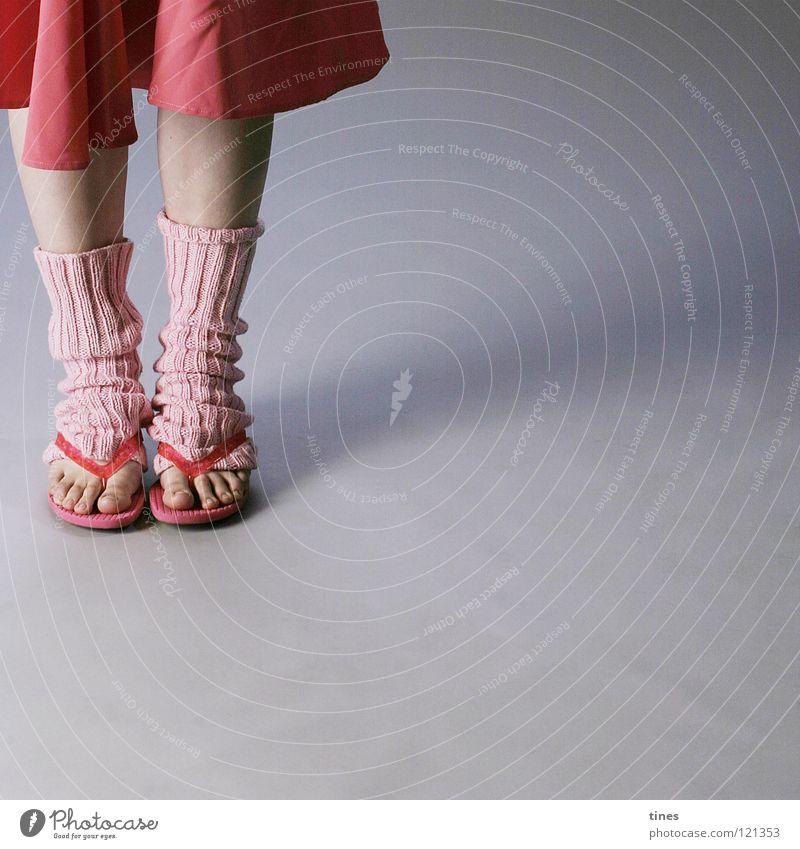 Beautiful Red Feet Legs Wait Pink Footwear Stand Toes Flip-flops Cuffs or leggings