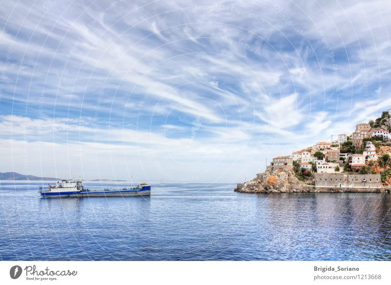 Hydra island and ship in Greece Beautiful Vacation & Travel Beach Ocean Island Landscape Clouds Coast Village Small Town Watercraft Bright Blue Brown White Ydra