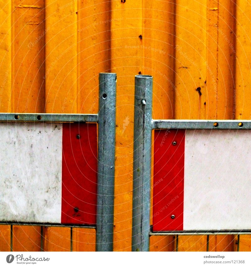 Beautiful White Red Yellow Work and employment Sand Together Transport Safety Construction site Meeting Stripe To hold on Rust Signage Fence