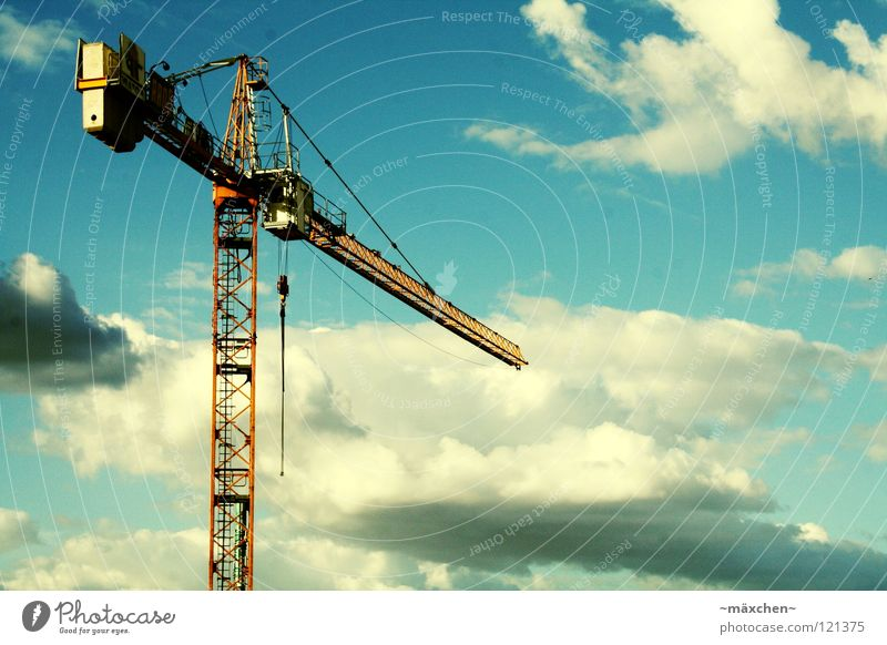 over the clouds... Crane Clouds Sky Work and employment Construction site Recklessness Long Heavy House (Residential Structure) Diagonal Grating String