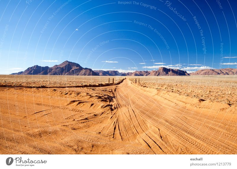 Desert Road Adventure Far-off places Freedom Safari Mountain Nature Landscape Earth Sand Sky Horizon Warmth Drought Traffic infrastructure Road traffic Motoring
