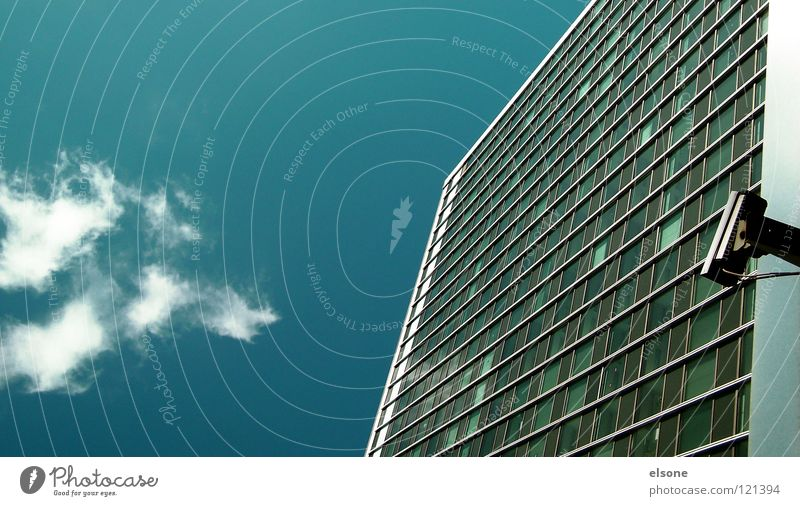 Sky Blue Clouds House (Residential Structure) Window Architecture Germany Glass High-rise Dangerous Camera Peace Americas Window pane Laws and Regulations