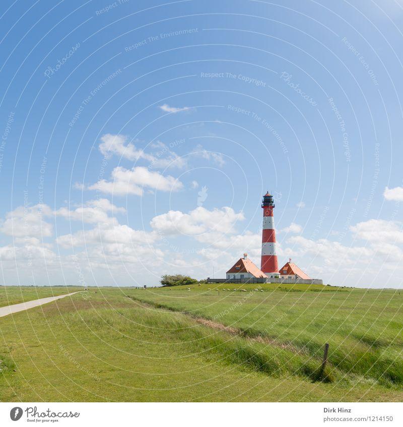 Westerhever Lighthouse VII Environment Nature Landscape Tourist Attraction Landmark Monument Blue Green Navigation Coast North Sea coast Wanderlust Orientation