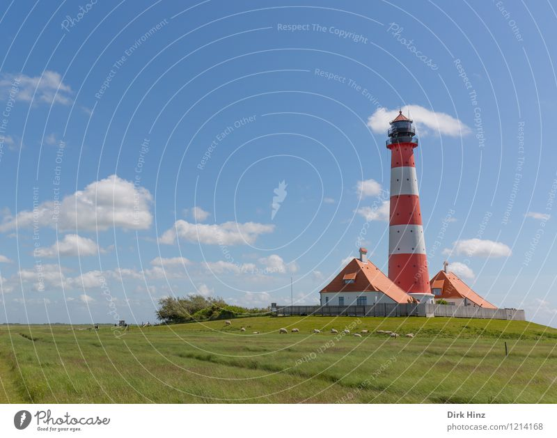 Westerhever Lighthouse III Blue Green Red White Navigation Landmark Monument Tourist Attraction Coast Wanderlust Orientation Horizon Direction Control system