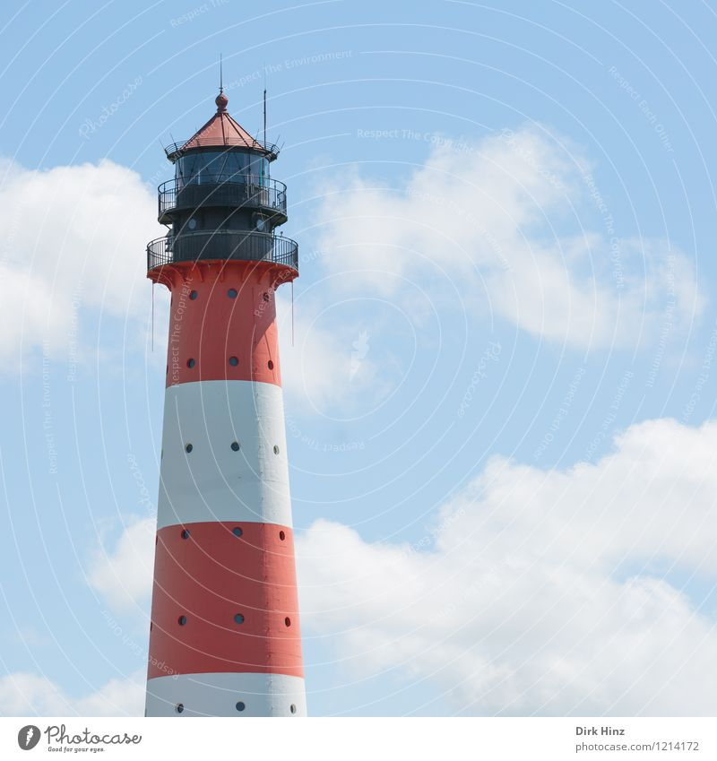Westerhever Lighthouse I Landscape Sky Clouds Coast North Sea Manmade structures Architecture Tourist Attraction Landmark Monument Navigation Sign Tourism