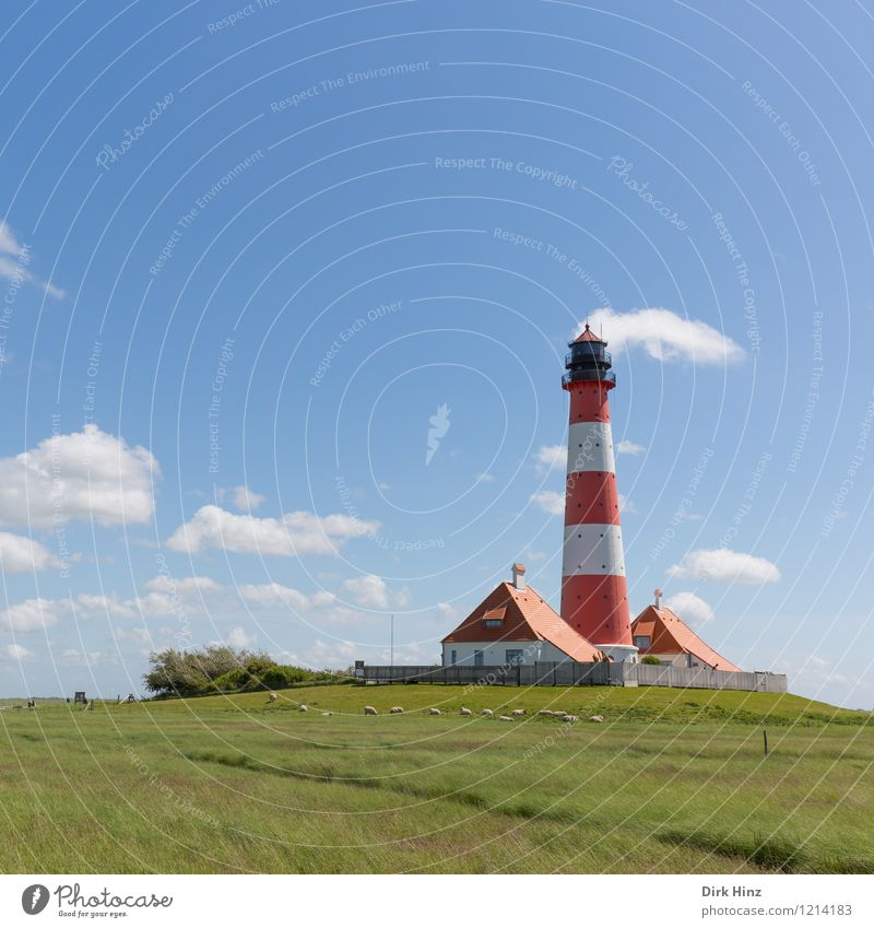 Westerhever Lighthouse II North Sea Tourist Attraction Landmark Monument Red White Navigation Coast Wanderlust Orientation Horizon Direction Trend-setting