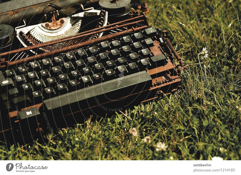 Rusty typewriter Letters (alphabet) Office Desk precision engineering Information Broken Communicate Latin alphabet Study School Reading Document Media Write