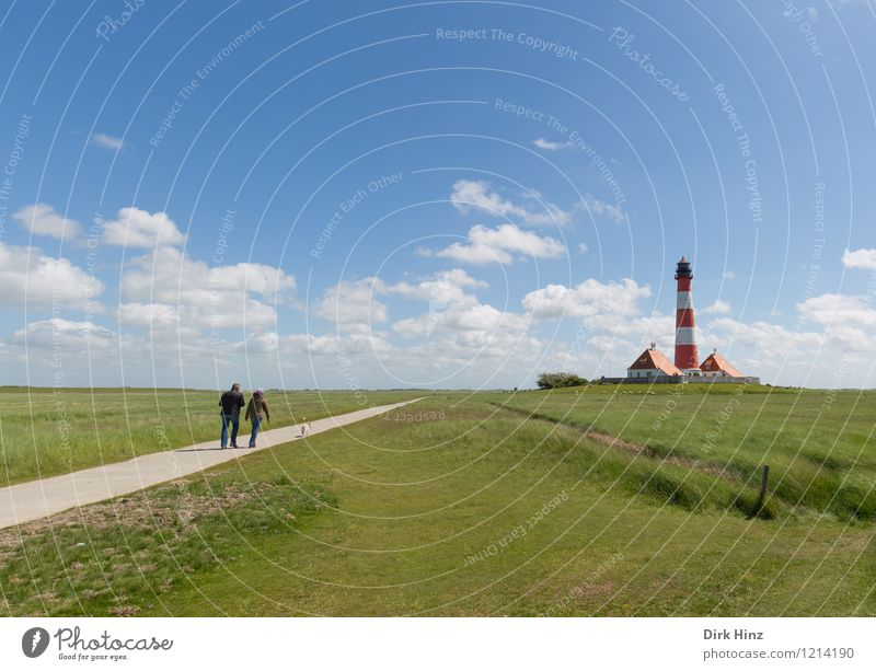 Westerhever Lighthouse VI Environment Nature Tourist Attraction Landmark Monument Blue Green Navigation Coast Wanderlust Orientation Horizon Direction