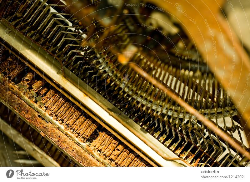 typewriter from below Typewriter Rust Old type lever Mechanics Fine Ancient Office Machinery Metal Metalware Iron Steel Part Metal coil Broken Under Rotate