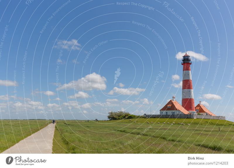 Westerhever Lighthouse IV Tourist Attraction Landmark Monument Blue Green Red Emotions Moody Authentic Navigation Wanderlust Orientation Horizon Direction