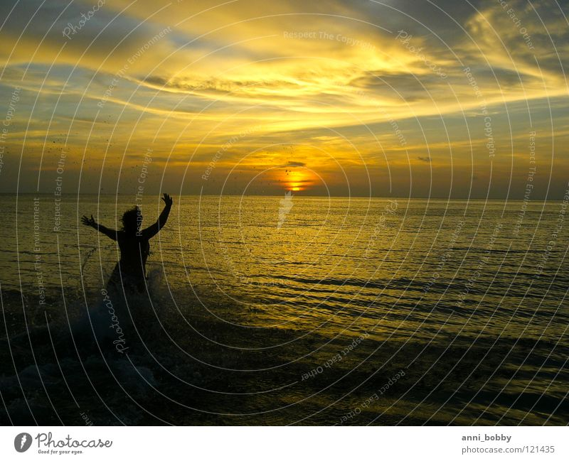 Catch me, if you can Sunset Dark Clouds Inject Woman Hand Waves Sky Ocean Water Arm Running Emotions Evening splash hands poor feel