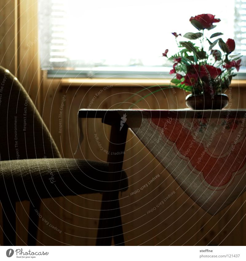 Flower Window Room Flat (apartment) Interior design Modern Table Authentic Living or residing Retro Chair Furniture Cozy Well-being Nostalgia Sixties