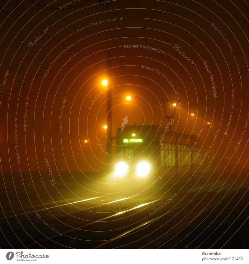 Fog Transport Railroad Logistics Lantern Railroad tracks Radiation Floodlight Means of transport Magdeburg Tram Return