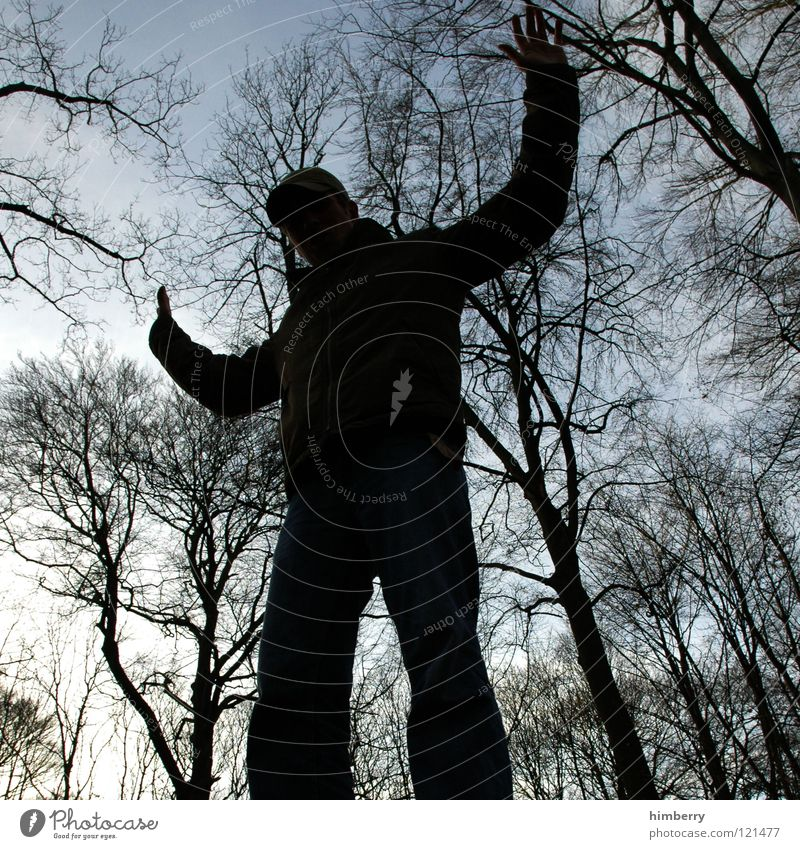 Human being Man Youth (Young adults) Sky Tree Black Dark