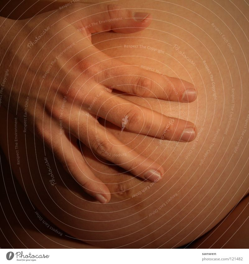 Woman Hand Beautiful Love Happy Beginning Fingers Safety Mother Protection Pregnant Stomach Anticipation Nail Birth Fingernail