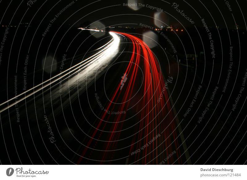 Red Yellow Street Dark Car Rain Line Lighting Drops of water Wet Speed Bridge Truck Highway Direction Thunder and lightning