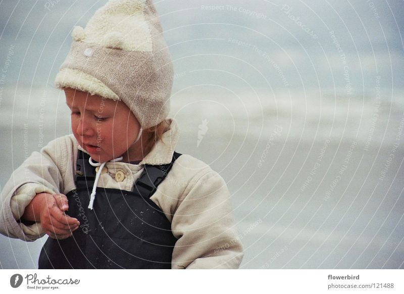 Marvel at wet sand ;-) Child Ocean Ameland Beach Discover Cap Amazed Concentrate Water Wind