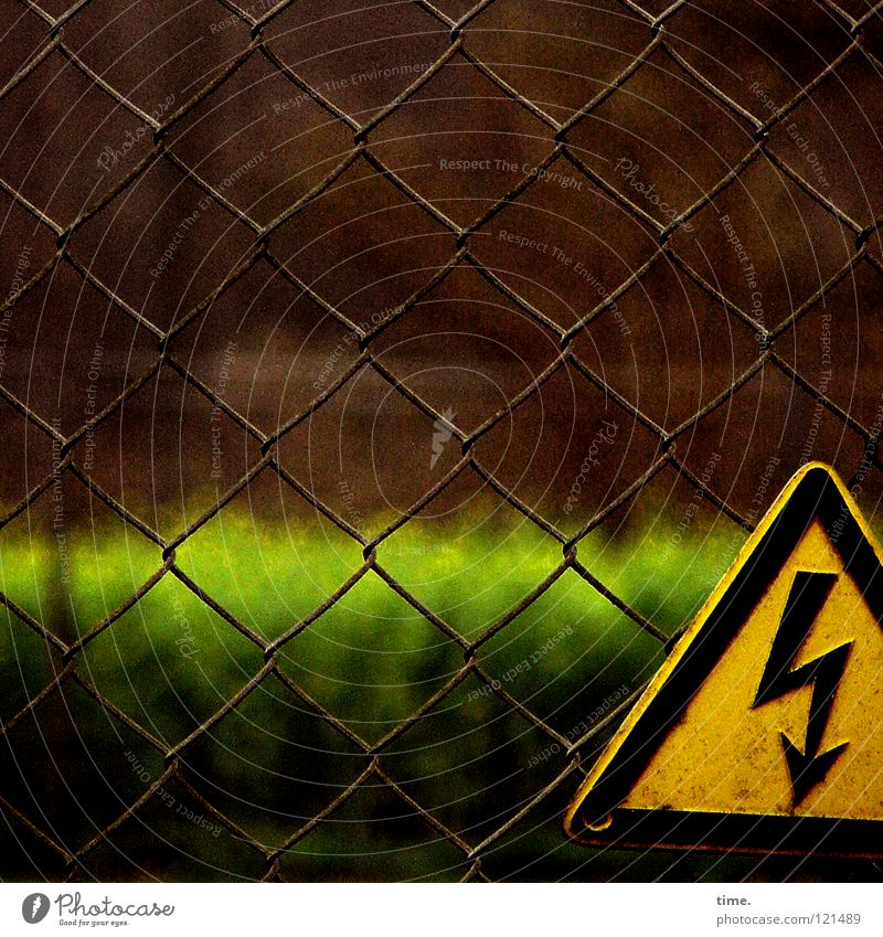 Black-yellow warning of green horizon Fence Wire netting fence Warning sign Green Brown Yellow Adequate Screw Stop Testing & Control Adhere to Triangle Detail